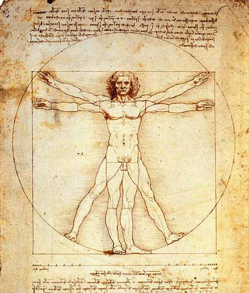 Картина Леонардо да Винчи, изображающая пропорции человека