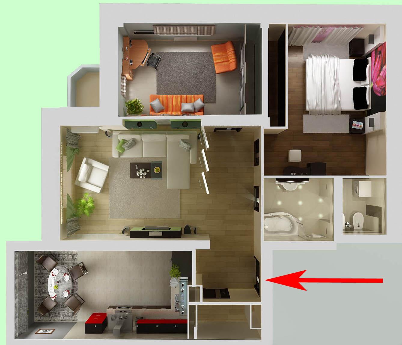 вход на стороне Тигра - план квартиры
